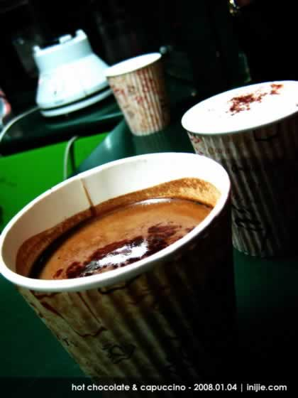 Hot Chocolate and Capuccino of Coffee Toffee