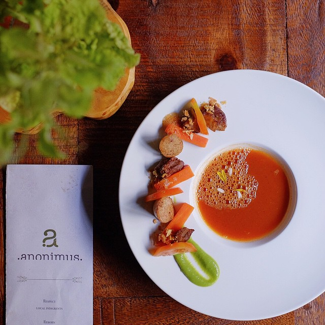 Deconstructed Sup Merah. Chef @dominicrevaldi & his team turn this home recipe into a beautiful cuisine. Tender smoked oxtounge & amazingly sweet confit carrots. // @anonimusrestaurant, Nginden Semolo 42w, #Surabaya.  #inijiegram #TableToTable #food